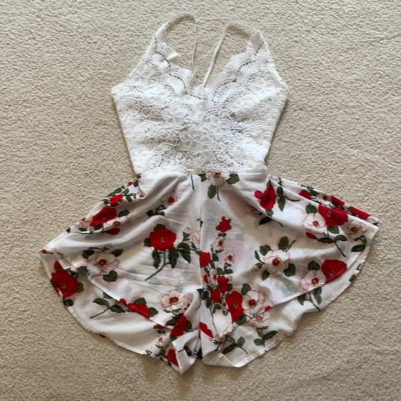 Flowy Floral and Lace Romper